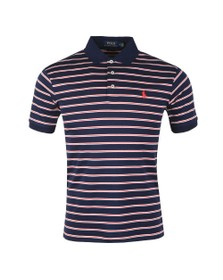 Polo Ralph Lauren Mens Blue Pima Cotton Stripe Polo Shirt