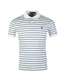 Polo Ralph Lauren Mens White Pima Cotton Stripe Polo Shirt