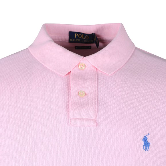 Polo Ralph Lauren Mens Pink Ralph Lauren Slim Fit Pink/Blue Polo Shirt