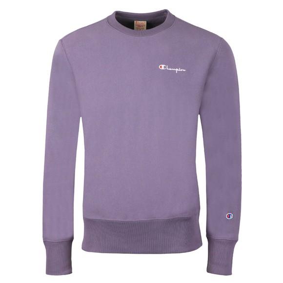 Champion Reverse Weave Mens Purple Small Script Logo Sweatshirt