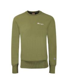 Champion Reverse Weave Mens Green Small Script Logo Sweatshirt
