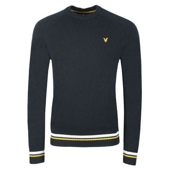 Lyle and Scott Mens Blue Multi Rib Knitted Jumper main image