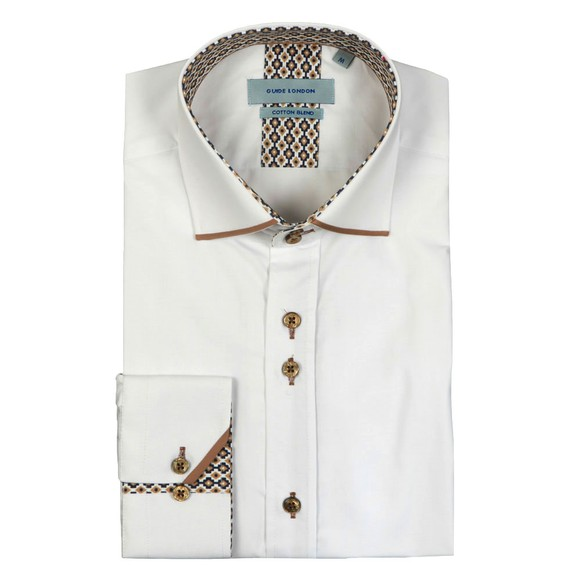 Guide London Mens White Tipped Collar Shirt