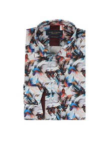 Guide London Mens Blue Exotic Fish Print Shirt