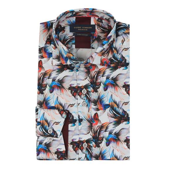 Guide London Mens Multicoloured Exotic Fish Print Shirt main image