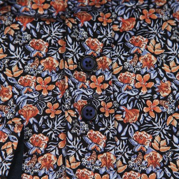 Guide London Mens Orange Floral Shirt main image