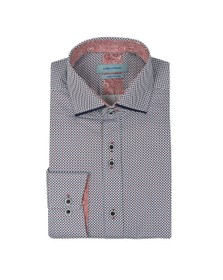 Guide London Mens White Diamond Print Shirt
