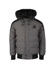 Kings Will Dream Mens Grey Branton Fur Trim Jacket