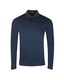 BOSS Mens Blue Athleisure Pirol Long Sleeve Polo Shirt