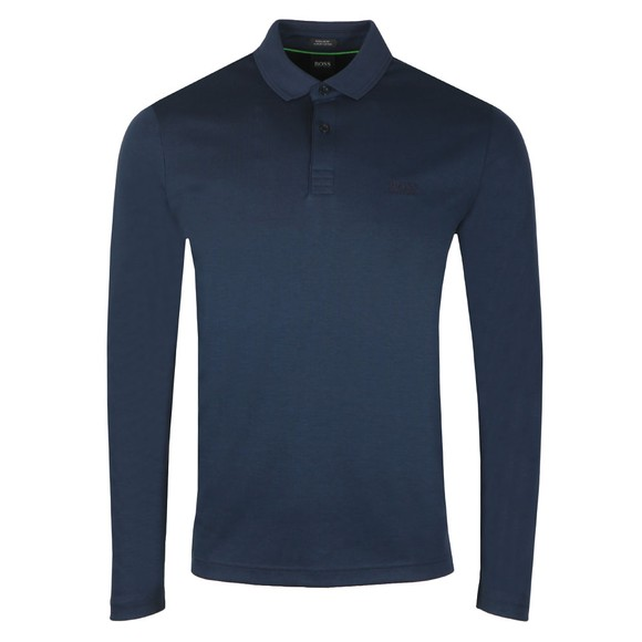 BOSS Mens Blue Athleisure Pirol Long Sleeve Polo Shirt