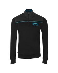 BOSS Mens Black Athleisure Half Zip Sweatshirt