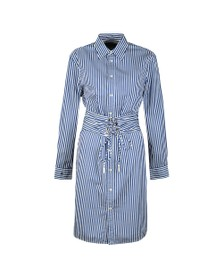 Polo Ralph Lauren Womens Blue Ally Stripe Long Sleeve Shirt Dress