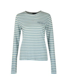 Polo Ralph Lauren Womens Blue Stripe Crew Neck Long Sleeve T Shirt