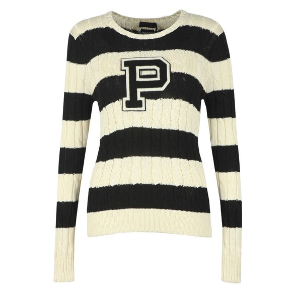 Polo Ralph Lauren Womens Off-White Julianna Large Logo Cable Jumper