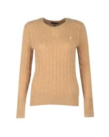 Polo Ralph Lauren Womens Camel Melange Julianna Cable Knit Jumper
