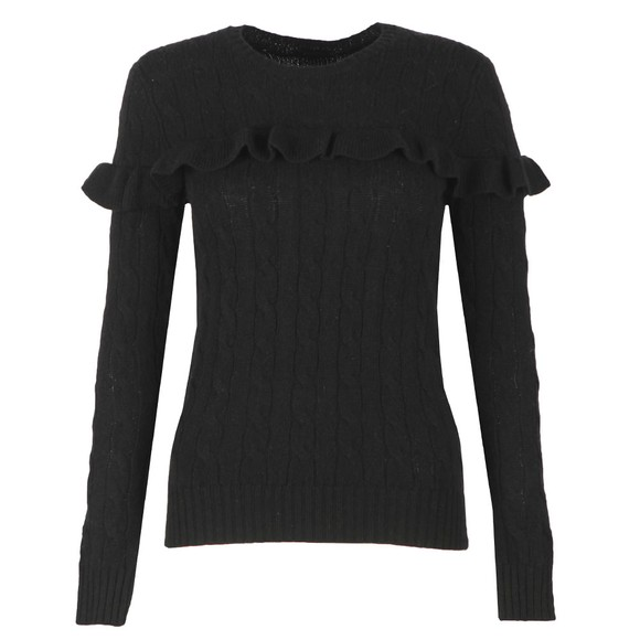 Polo Ralph Lauren Womens Black Ruffle Cable Knit Jumper