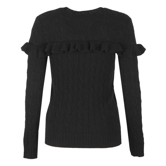 Polo Ralph Lauren Womens Black Ruffle Cable Knit Jumper main image