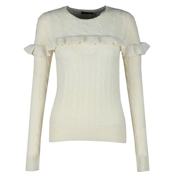 Polo Ralph Lauren Womens White Ruffle Cable Knit Jumper