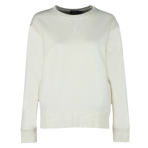 Polo Ralph Lauren Womens Off-White Crew Neck Sweat With Side Zip