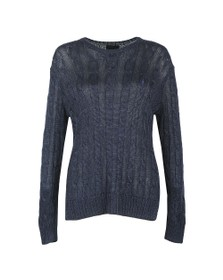 Polo Ralph Lauren Womens Blue Metallic Crew Cable Knit Jumper