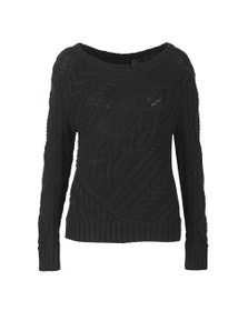 Polo Ralph Lauren Womens Black Cable Knit Crew Neck Jumper