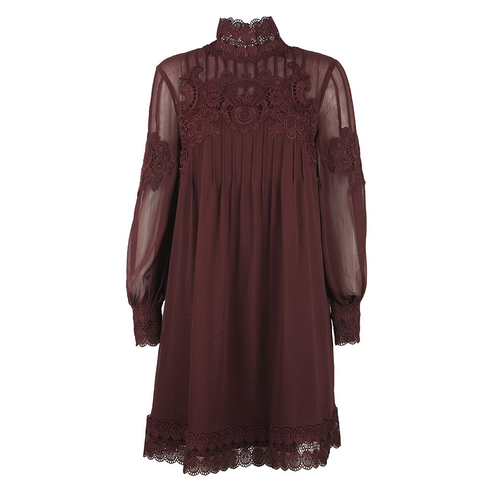 Anneah High Neck Lace Long Sleeve Tunic Dress main image