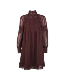 Ted Baker Womens Purple Anneah High Neck Lace Long Sleeve Tunic Dress