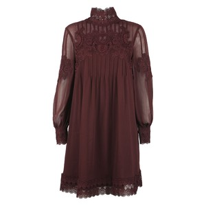Anneah High Neck Lace Long Sleeve Tunic Dress
