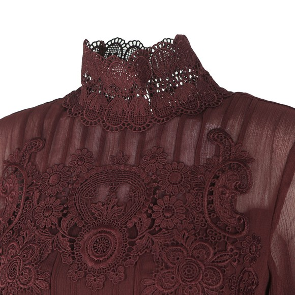 Ted Baker Womens Purple Anneah High Neck Lace Long Sleeve Tunic Dress main image