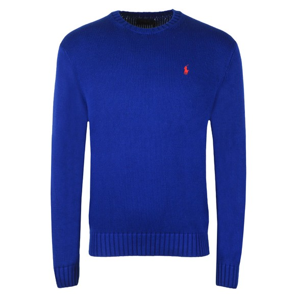 Polo Ralph Lauren Mens Blue Crew Neck Thick Knitted Jumper