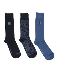 Pretty Green Mens Blue 3 Pack Paisley Socks