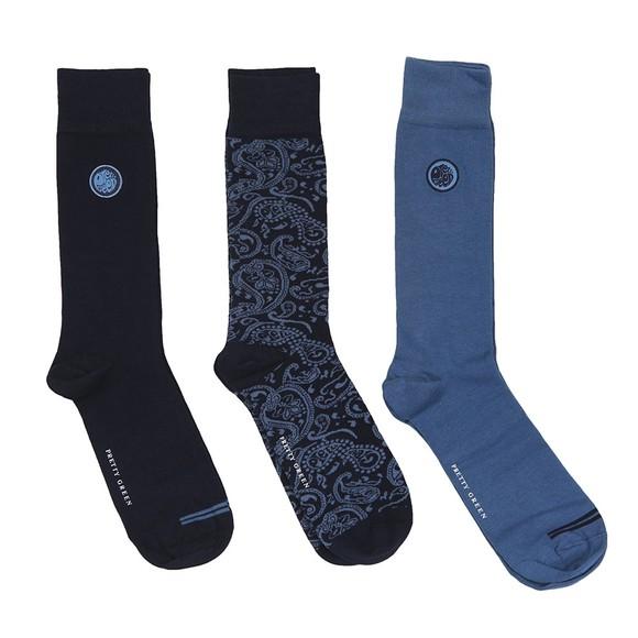 Pretty Green Mens Blue 3 Pack Paisley Socks main image