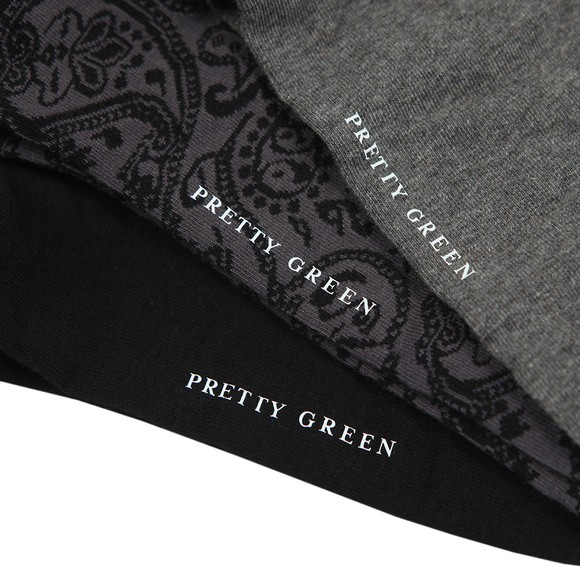 Pretty Green Mens Black 3 Pack Paisley Socks main image
