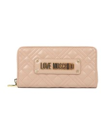 Love Moschino Womens Pink Cross Quilted Plaque Purse