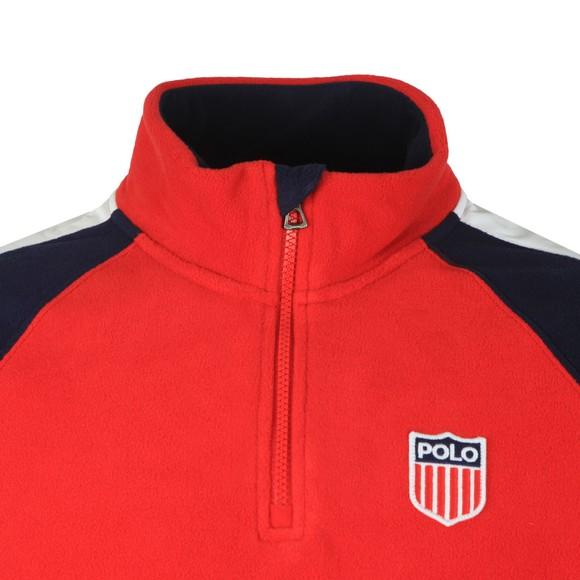 Polo Ralph Lauren Mens Red Flag Logo Half Zip Fleece