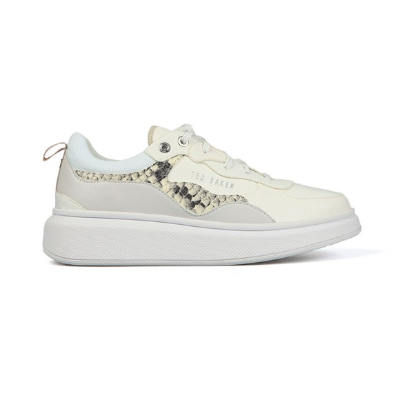 Ted Baker Womens White Arellis Embossed Snake Effect Platform Trainer main image