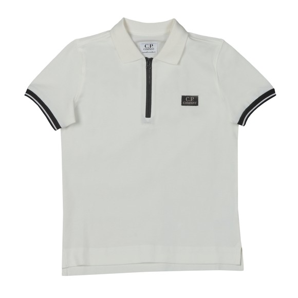 C.P. Company Undersixteen Boys White Zip Polo Shirt