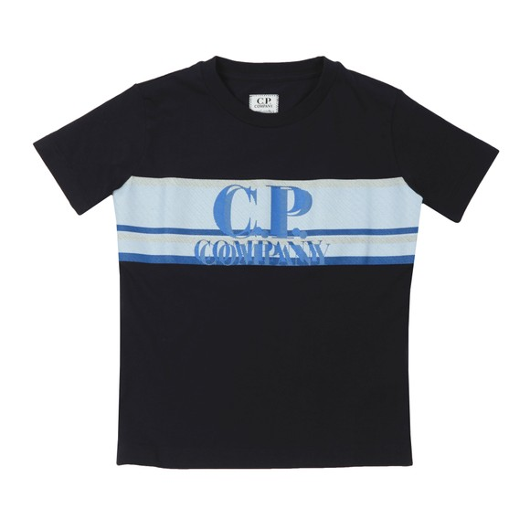 C.P. Company Undersixteen Boys Blue Strip Logo T Shirt