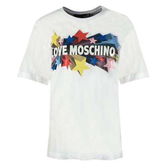 Love Moschino Womens White Love Stelline Star T-Shirt main image