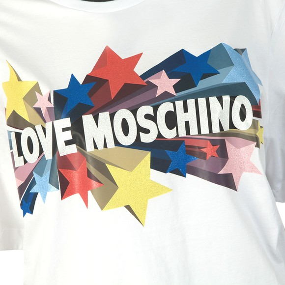 Love Moschino Womens White Love Stelline Star T-Shirt