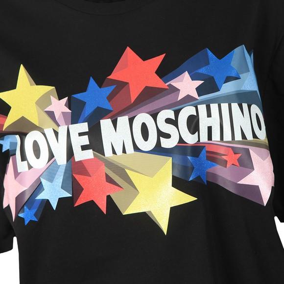 Love Moschino Womens Black Love Stelline Star T-Shirt main image