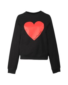 Love Moschino Womens Black Girocollo Heart Sweatshirt