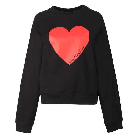 Love Moschino Womens Black Girocollo Heart Sweatshirt main image
