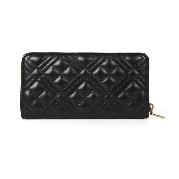 Love Moschino Womens Black Cross Quilted Plaque Purse