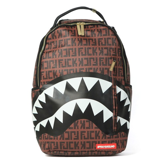 Sprayground Mens Brown Offended Shark Backpack
