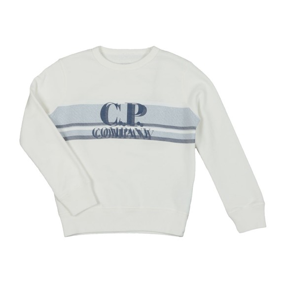 C.P. Company Undersixteen Boys Off-White Strip Logo Sweatshirt