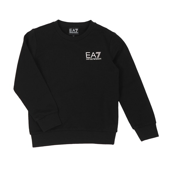EA7 Emporio Armani Boys Black Rubber Logo Crew Neck Sweatshirt