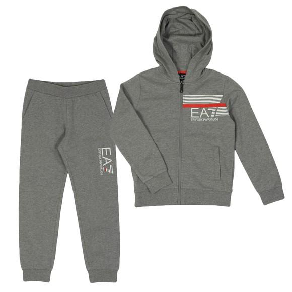 EA7 Emporio Armani Boys Grey Hooded Tracksuit main image