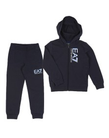EA7 Emporio Armani Boys Blue Shadow Hooded Tracksuit