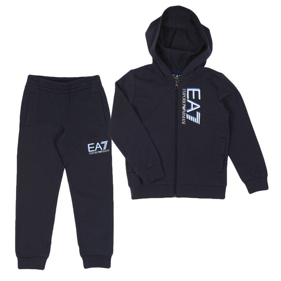 EA7 Emporio Armani Boys Blue Shadow Hooded Tracksuit main image